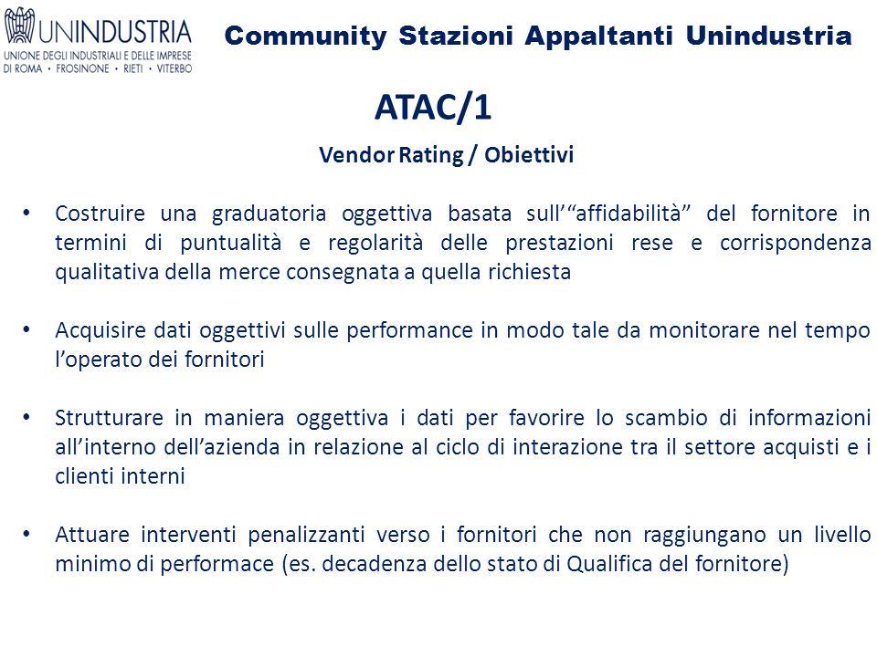 """Community Stazioni Appaltanti Unindustria ATAC/1 Vendor Rating / Obiettivi Costruire una graduatoria oggettiva basata sull'""""affidabilità"""" del fornitor"""