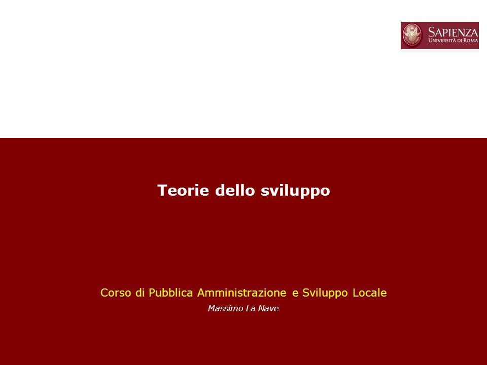 1 Teorie dello sviluppo Corso di Pubblica Amministrazione e Sviluppo Locale Massimo La Nave