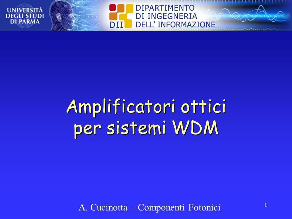 Amplificatori ottici per sistemi WDM 1 A. Cucinotta – Componenti Fotonici
