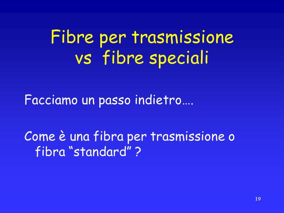 """Fibre per trasmissione vs fibre speciali Facciamo un passo indietro…. Come è una fibra per trasmissione o fibra """"standard"""" ? 19"""