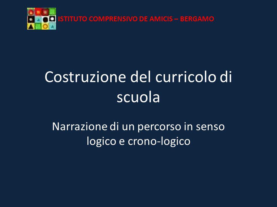 Costruzione del curricolo di scuola Narrazione di un percorso in senso logico e crono-logico ISTITUTO COMPRENSIVO DE AMICIS – BERGAMO