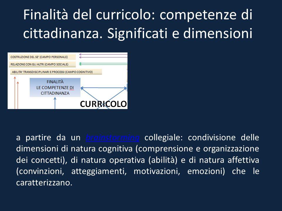 a partire da un brainstorming collegiale: condivisione delle dimensioni di natura cognitiva (comprensione e organizzazione dei concetti), di natura op