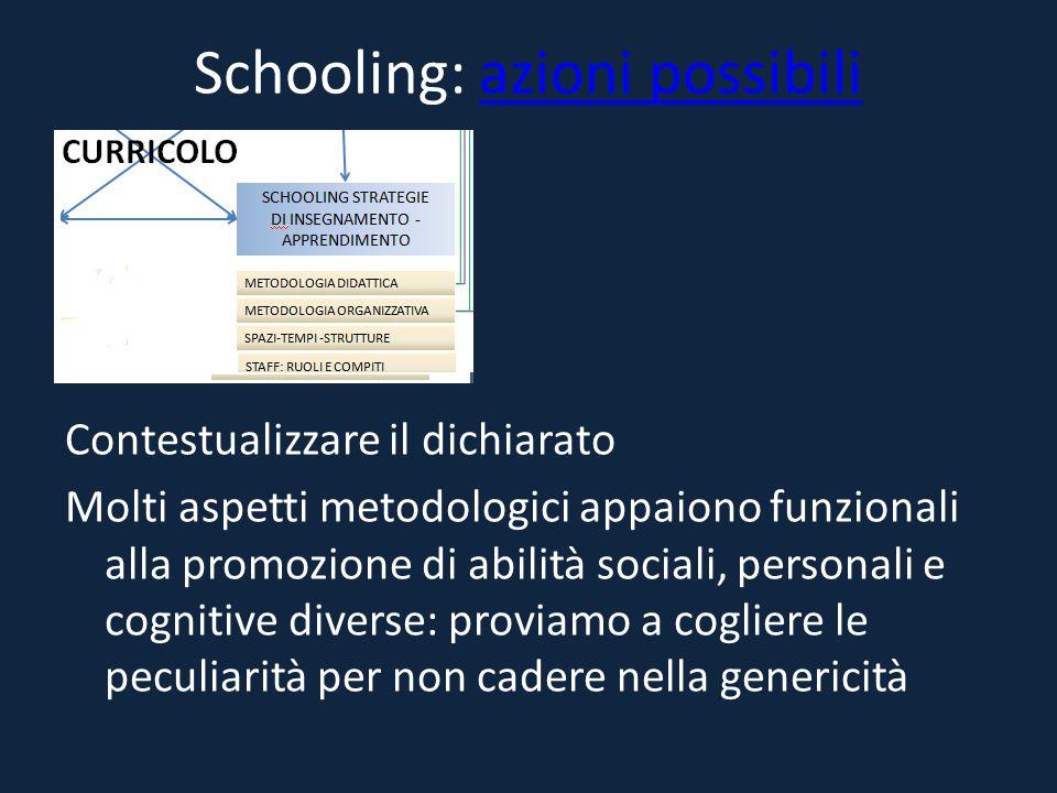 Schooling: azioni possibiliazioni possibili Contestualizzare il dichiarato Molti aspetti metodologici appaiono funzionali alla promozione di abilità s