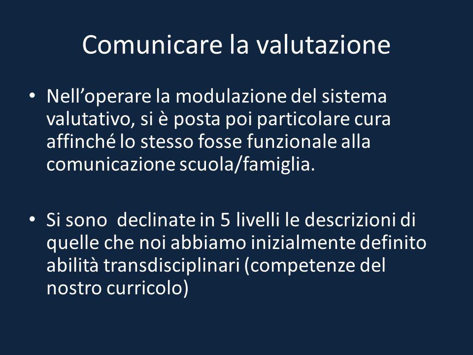 Comunicare la valutazione Nell'operare la modulazione del sistema valutativo, si è posta poi particolare cura affinché lo stesso fosse funzionale alla