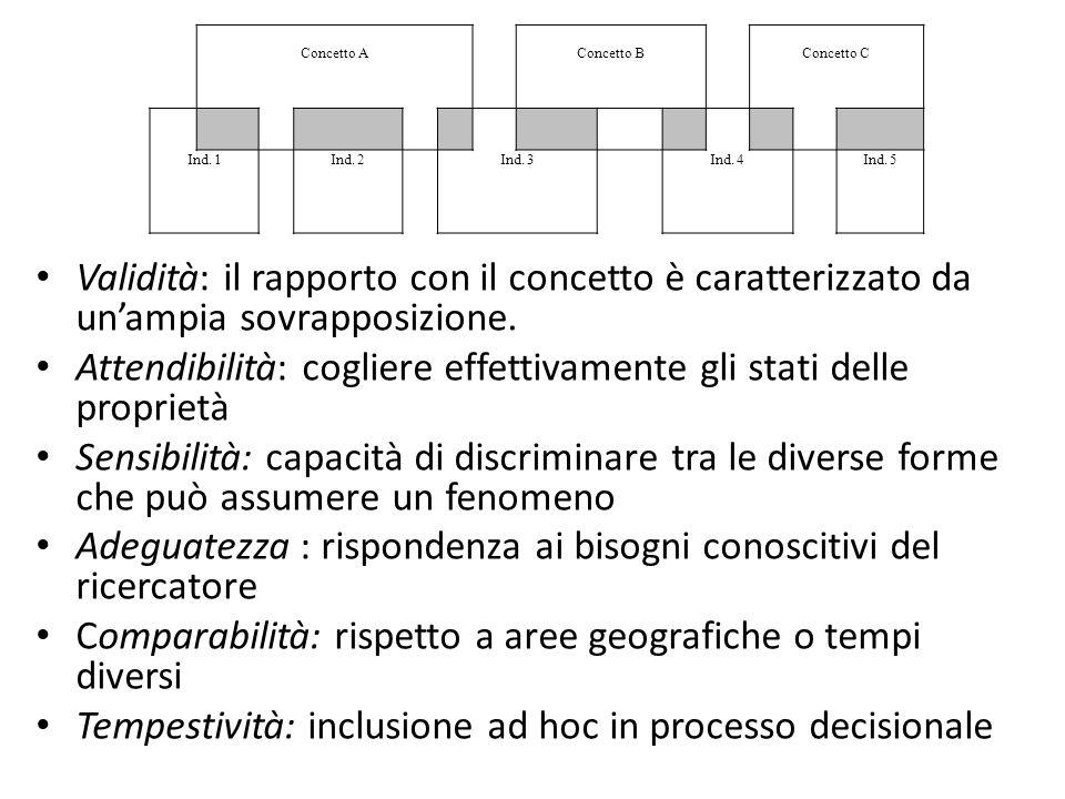 Validità: il rapporto con il concetto è caratterizzato da un'ampia sovrapposizione. Attendibilità: cogliere effettivamente gli stati delle proprietà S