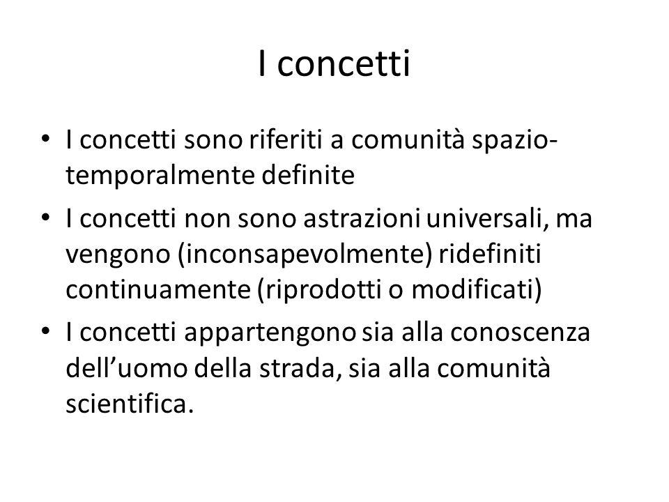 I concetti I concetti sono riferiti a comunità spazio- temporalmente definite I concetti non sono astrazioni universali, ma vengono (inconsapevolmente