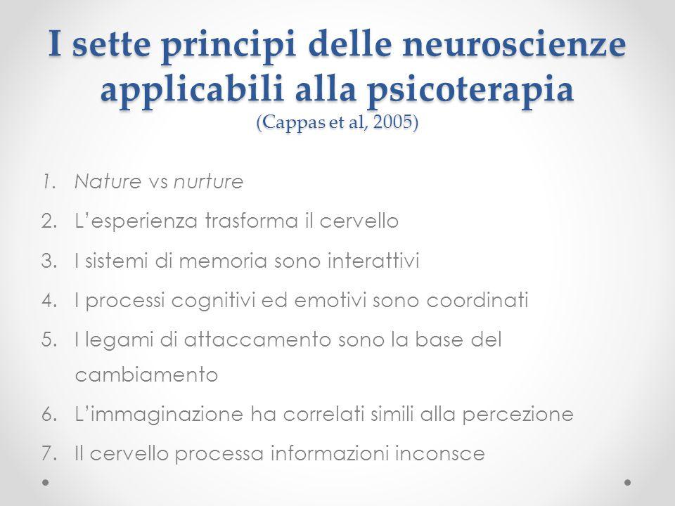 I sette principi delle neuroscienze applicabili alla psicoterapia (Cappas et al, 2005) 1.Nature vs nurture 2.L'esperienza trasforma il cervello 3.I si