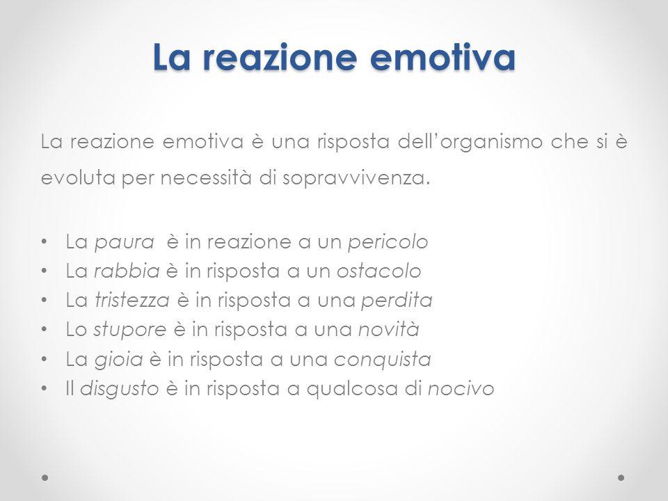 La reazione emotiva La reazione emotiva è una risposta dell'organismo che si è evoluta per necessità di sopravvivenza. La paura è in reazione a un per