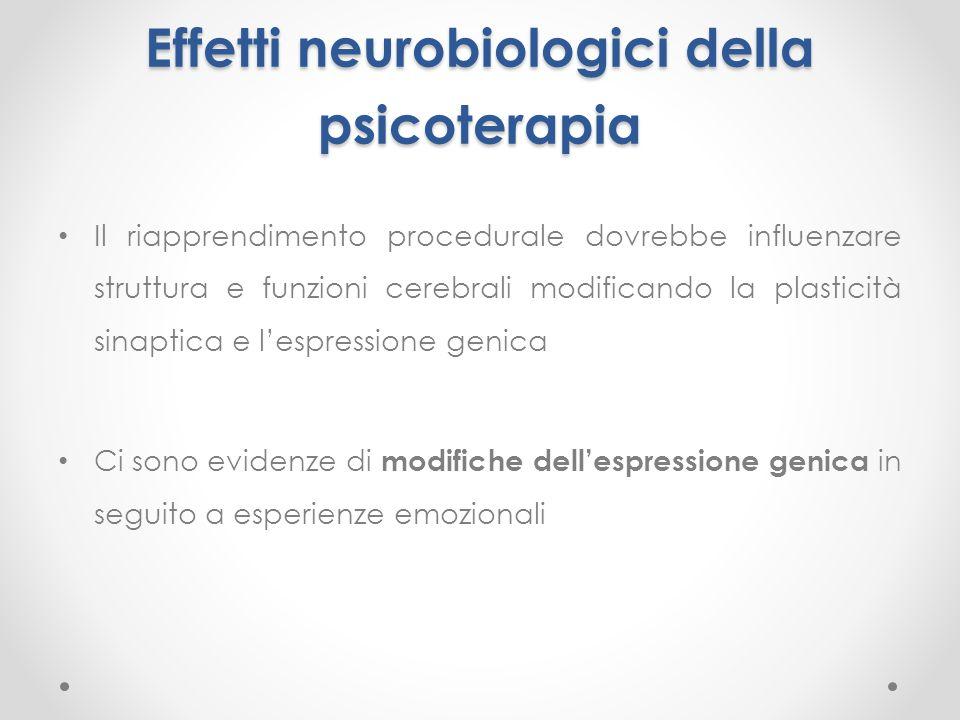 Effetti neurobiologici della psicoterapia Il riapprendimento procedurale dovrebbe influenzare struttura e funzioni cerebrali modificando la plasticità