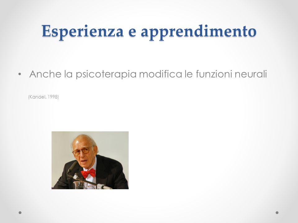Esperienza e apprendimento Anche la psicoterapia modifica le funzioni neurali (Kandel, 1998)
