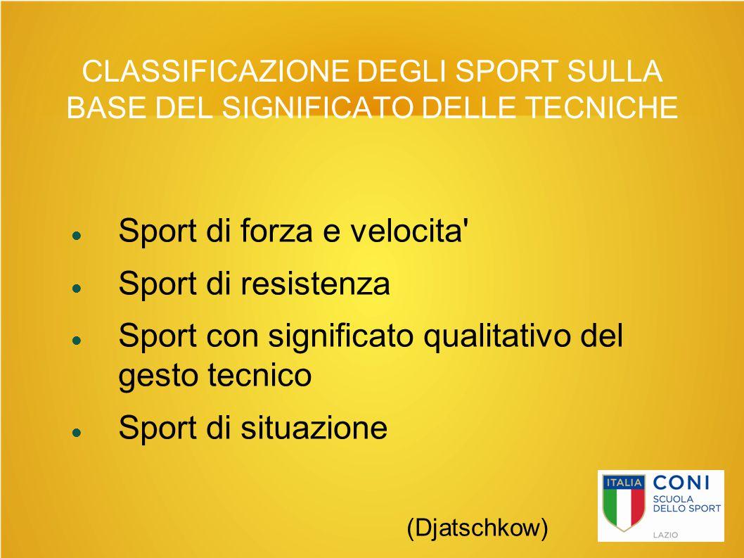 CLASSIFICAZIONE DEGLI SPORT SULLA BASE DEL SIGNIFICATO DELLE TECNICHE Sport di forza e velocita' Sport di resistenza Sport con significato qualitativo