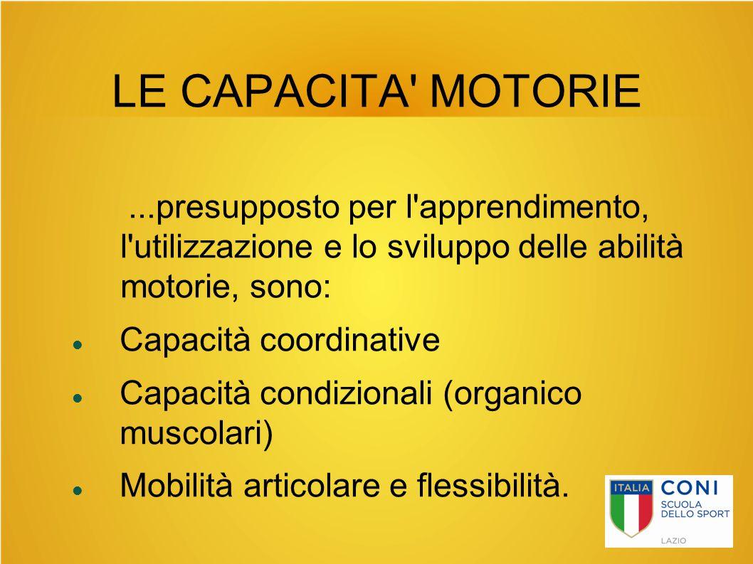 LE CAPACITA' MOTORIE...presupposto per l'apprendimento, l'utilizzazione e lo sviluppo delle abilità motorie, sono: Capacità coordinative Capacità cond