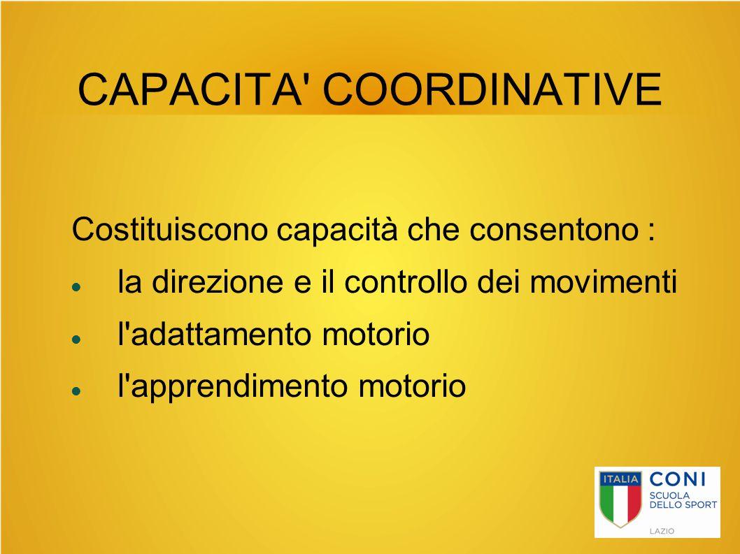 CAPACITA' COORDINATIVE Costituiscono capacità che consentono : la direzione e il controllo dei movimenti l'adattamento motorio l'apprendimento motorio