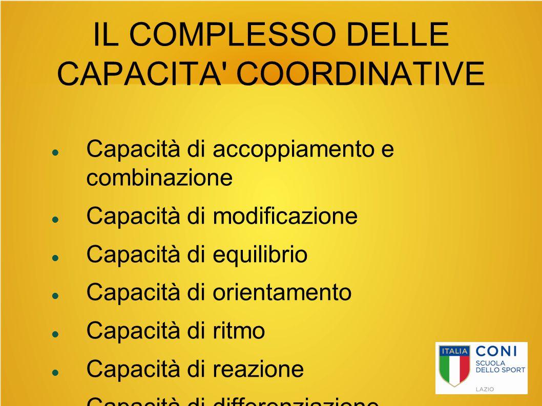 IL COMPLESSO DELLE CAPACITA' COORDINATIVE Capacità di accoppiamento e combinazione Capacità di modificazione Capacità di equilibrio Capacità di orient