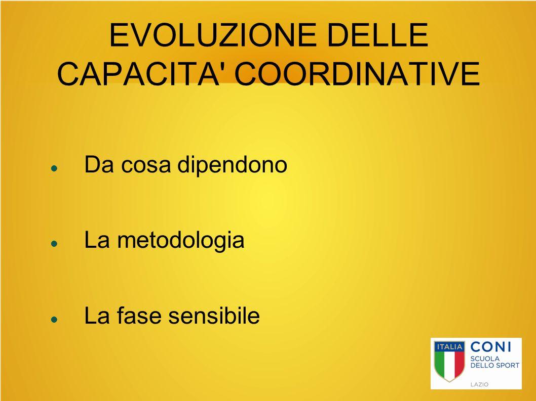 EVOLUZIONE DELLE CAPACITA' COORDINATIVE Da cosa dipendono La metodologia La fase sensibile
