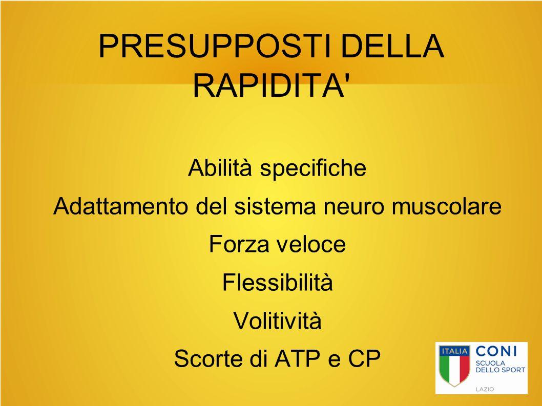 PRESUPPOSTI DELLA RAPIDITA' Abilità specifiche Adattamento del sistema neuro muscolare Forza veloce Flessibilità Volitività Scorte di ATP e CP