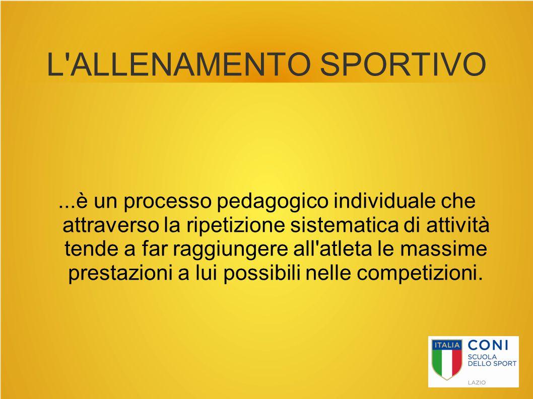 L'ALLENAMENTO SPORTIVO...è un processo pedagogico individuale che attraverso la ripetizione sistematica di attività tende a far raggiungere all'atleta