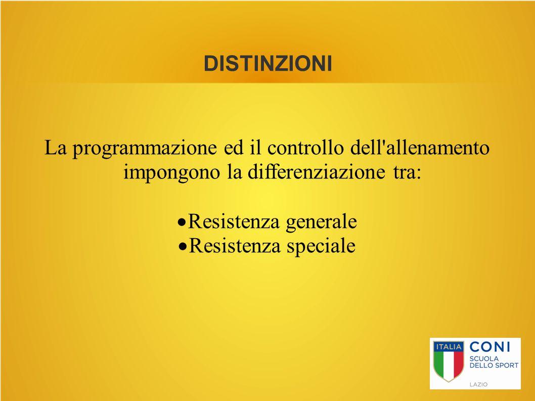 DISTINZIONI La programmazione ed il controllo dell'allenamento impongono la differenziazione tra:  Resistenza generale  Resistenza speciale