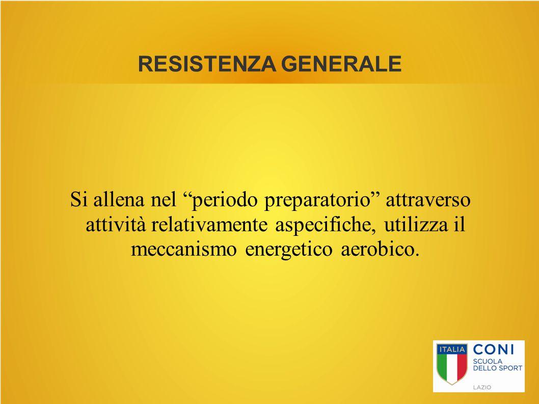 """RESISTENZA GENERALE Si allena nel """"periodo preparatorio"""" attraverso attività relativamente aspecifiche, utilizza il meccanismo energetico aerobico."""