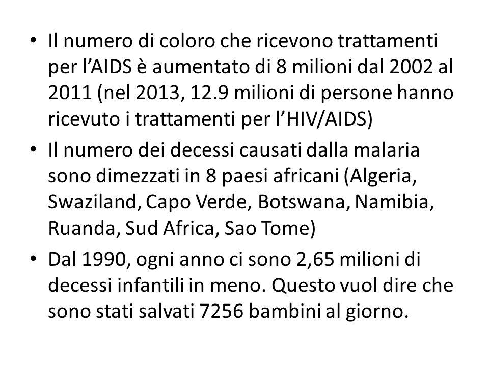 Il numero di coloro che ricevono trattamenti per l'AIDS è aumentato di 8 milioni dal 2002 al 2011 (nel 2013, 12.9 milioni di persone hanno ricevuto i