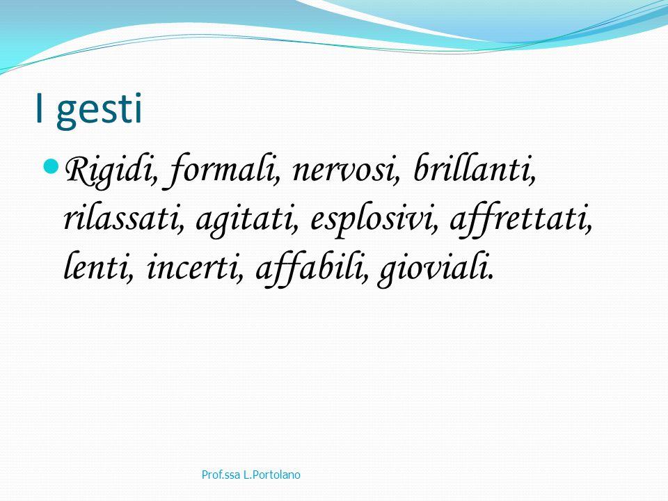 I gesti Rigidi, formali, nervosi, brillanti, rilassati, agitati, esplosivi, affrettati, lenti, incerti, affabili, gioviali. Prof.ssa L.Portolano
