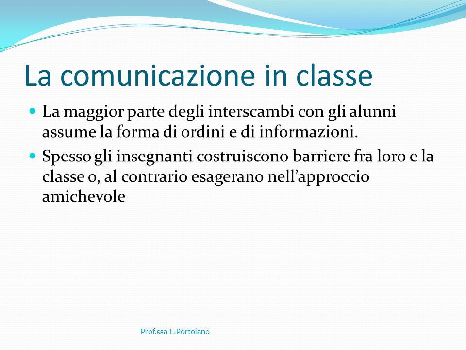 La comunicazione in classe La maggior parte degli interscambi con gli alunni assume la forma di ordini e di informazioni.