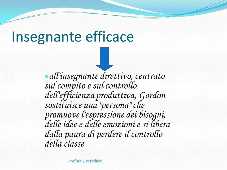 Insegnante efficace Prof.ssa L.Portolano all'insegnante direttivo, centrato sul compito e sul controllo dell'efficienza produttiva, Gordon sostituisce