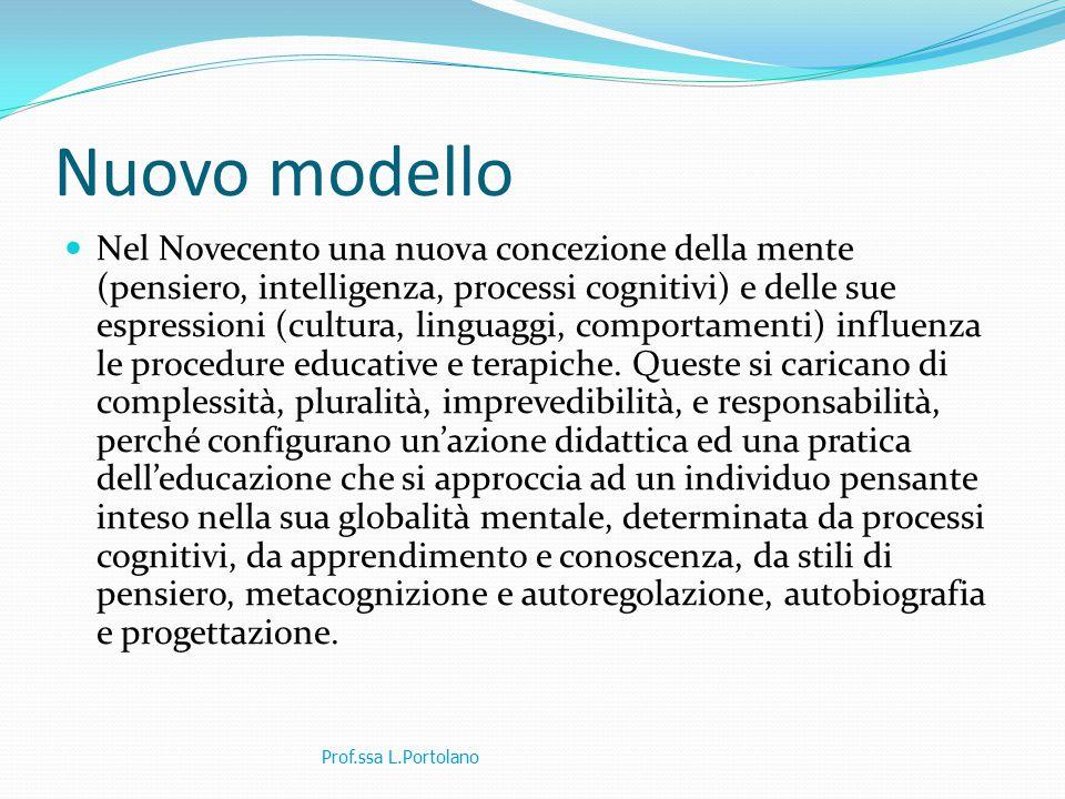 Nuovo modello Nel Novecento una nuova concezione della mente (pensiero, intelligenza, processi cognitivi) e delle sue espressioni (cultura, linguaggi, comportamenti) influenza le procedure educative e terapiche.
