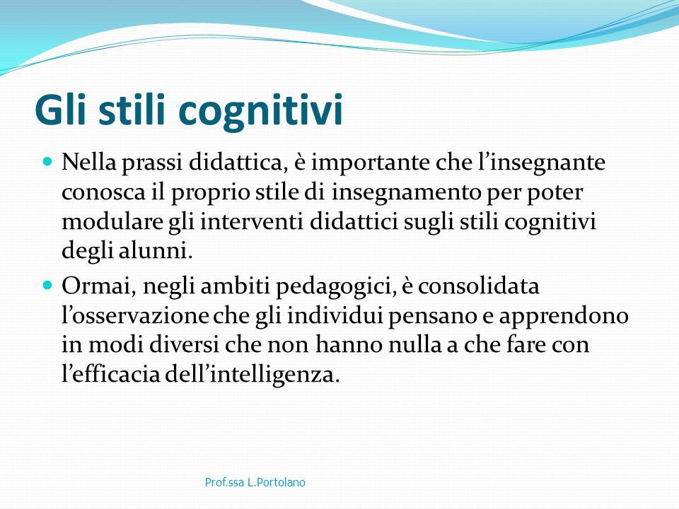 Gli stili cognitivi Nella prassi didattica, è importante che l'insegnante conosca il proprio stile di insegnamento per poter modulare gli interventi didattici sugli stili cognitivi degli alunni.