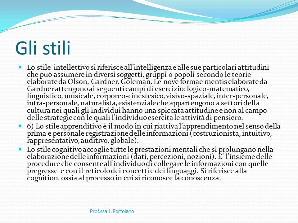 Gli stili Lo stile intellettivo si riferisce all'intelligenza e alle sue particolari attitudini che può assumere in diversi soggetti, gruppi o popoli