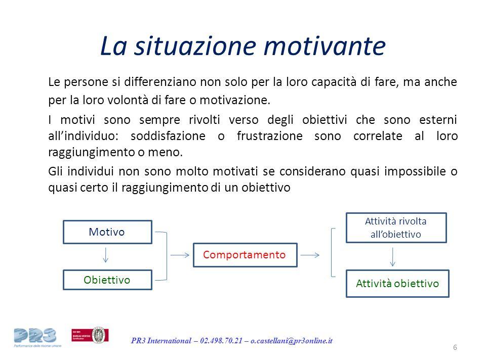 PR3 International – 02.498.70.21 – o.castellani@pr3online.it La situazione motivante Le persone si differenziano non solo per la loro capacità di fare, ma anche per la loro volontà di fare o motivazione.