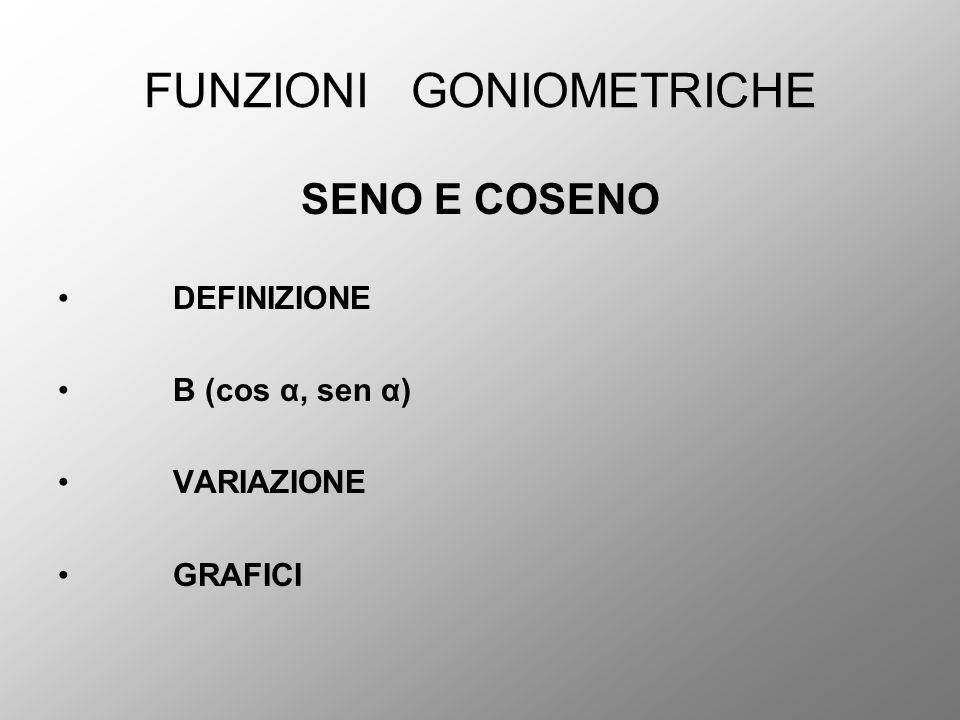 FUNZIONI GONIOMETRICHE SENO E COSENO DEFINIZIONE B (cos α, sen α) VARIAZIONE GRAFICI