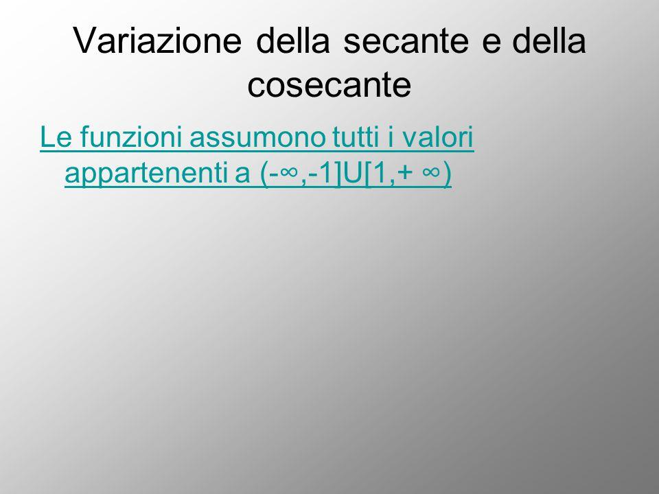 Variazione della secante e della cosecante Le funzioni assumono tutti i valori appartenenti a (-∞,-1]U[1,+ ∞)