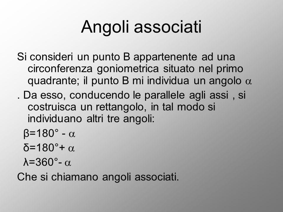 Angoli associati Si consideri un punto B appartenente ad una circonferenza goniometrica situato nel primo quadrante; il punto B mi individua un angolo