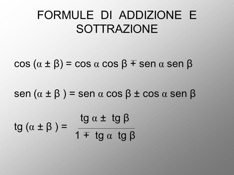 FORMULE DI ADDIZIONE E SOTTRAZIONE cos ( α ± β) = cos α cos β + sen α sen β sen ( α ± β ) = sen α cos β ± cos α sen β tg α ± tg β tg ( α ± β ) = 1 + t