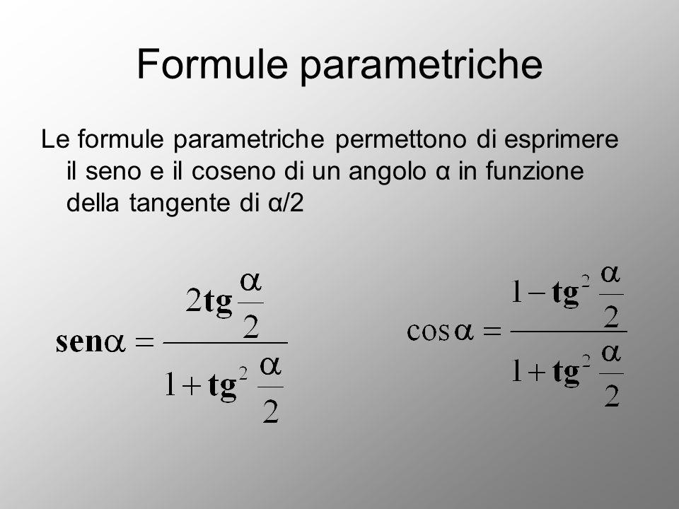 Formule parametriche Le formule parametriche permettono di esprimere il seno e il coseno di un angolo α in funzione della tangente di α/2