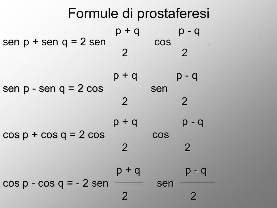 Formule di prostaferesi p + q p - q sen p + sen q = 2 sen cos 2 2 p + q p - q p + q p - q sen p - sen q = 2 cos sen 2 2 2 2 p + q p - q p + q p - q co