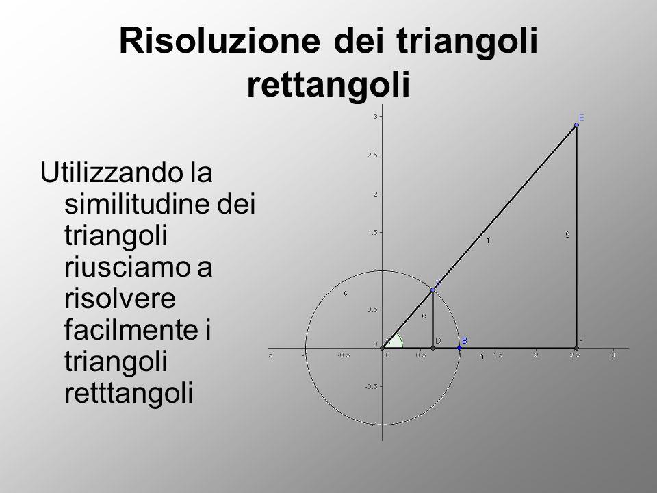 Risoluzione dei triangoli rettangoli Utilizzando la similitudine dei triangoli riusciamo a risolvere facilmente i triangoli retttangoli