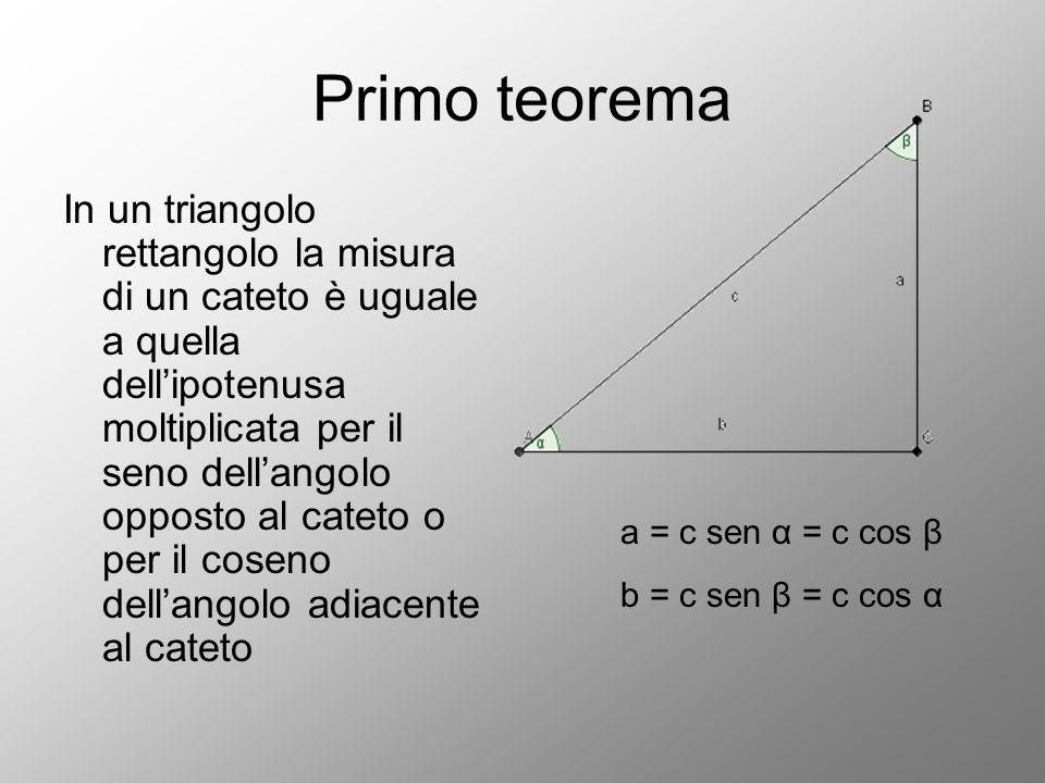 Primo teorema In un triangolo rettangolo la misura di un cateto è uguale a quella dell'ipotenusa moltiplicata per il seno dell'angolo opposto al catet