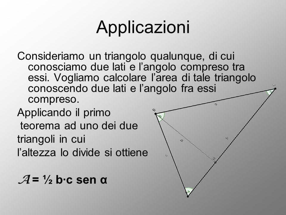 Applicazioni Consideriamo un triangolo qualunque, di cui conosciamo due lati e l'angolo compreso tra essi. Vogliamo calcolare l'area di tale triangolo