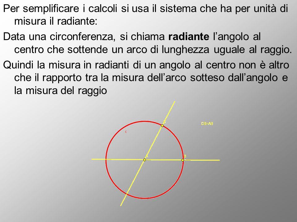 Per semplificare i calcoli si usa il sistema che ha per unità di misura il radiante: Data una circonferenza, si chiama radiante l'angolo al centro che