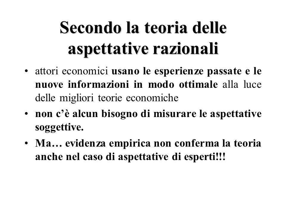 Secondo la teoria delle aspettative razionali attori economici usano le esperienze passate e le nuove informazioni in modo ottimale alla luce delle migliori teorie economiche non c'è alcun bisogno di misurare le aspettative soggettive.