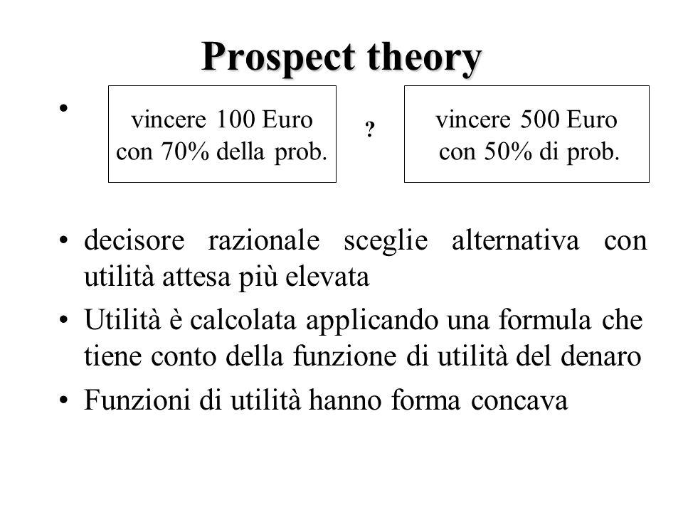 Prospect theory decisore razionale sceglie alternativa con utilità attesa più elevata Utilità è calcolata applicando una formula che tiene conto della funzione di utilità del denaro Funzioni di utilità hanno forma concava vincere 100 Euro con 70% della prob.