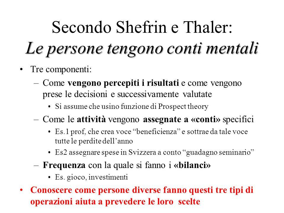 Le persone tengono conti mentali Secondo Shefrin e Thaler: Le persone tengono conti mentali Tre componenti: –Come vengono percepiti i risultati e come
