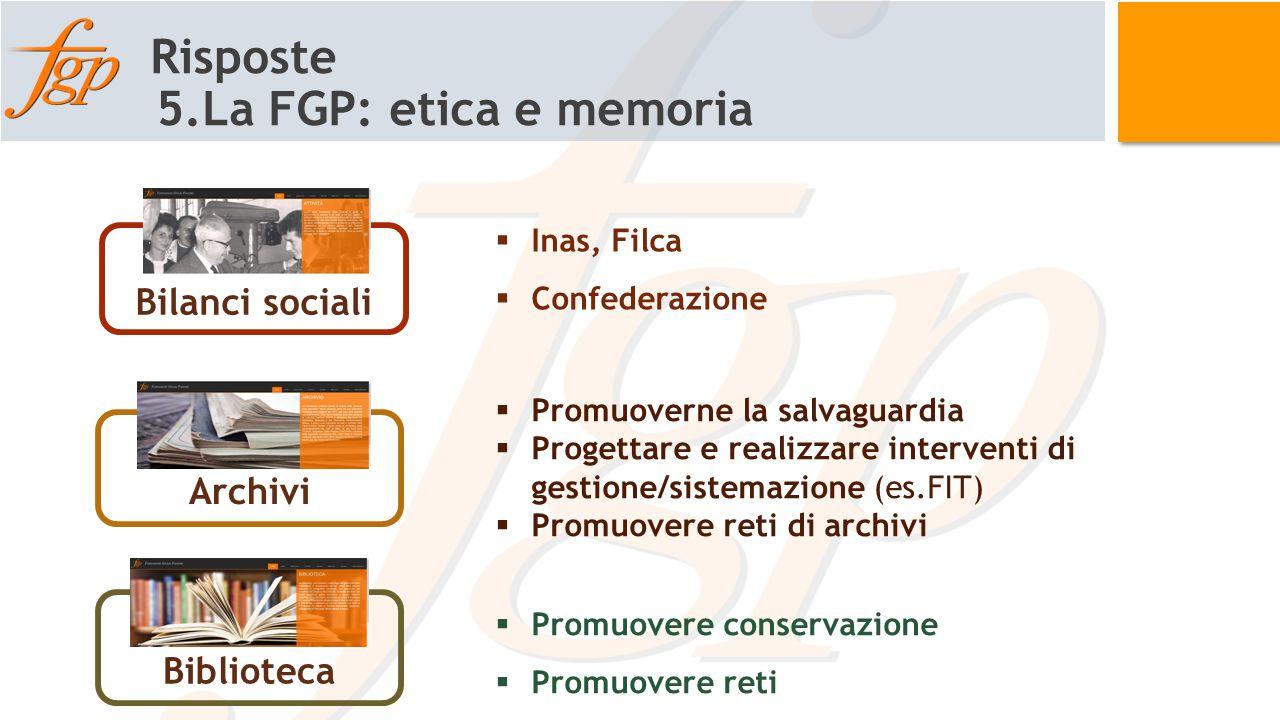 Risposte 5.La FGP: etica e memoria Bilanci sociali Biblioteca Archivi  Inas, Filca  Confederazione  Promuoverne la salvaguardia  Progettare e real