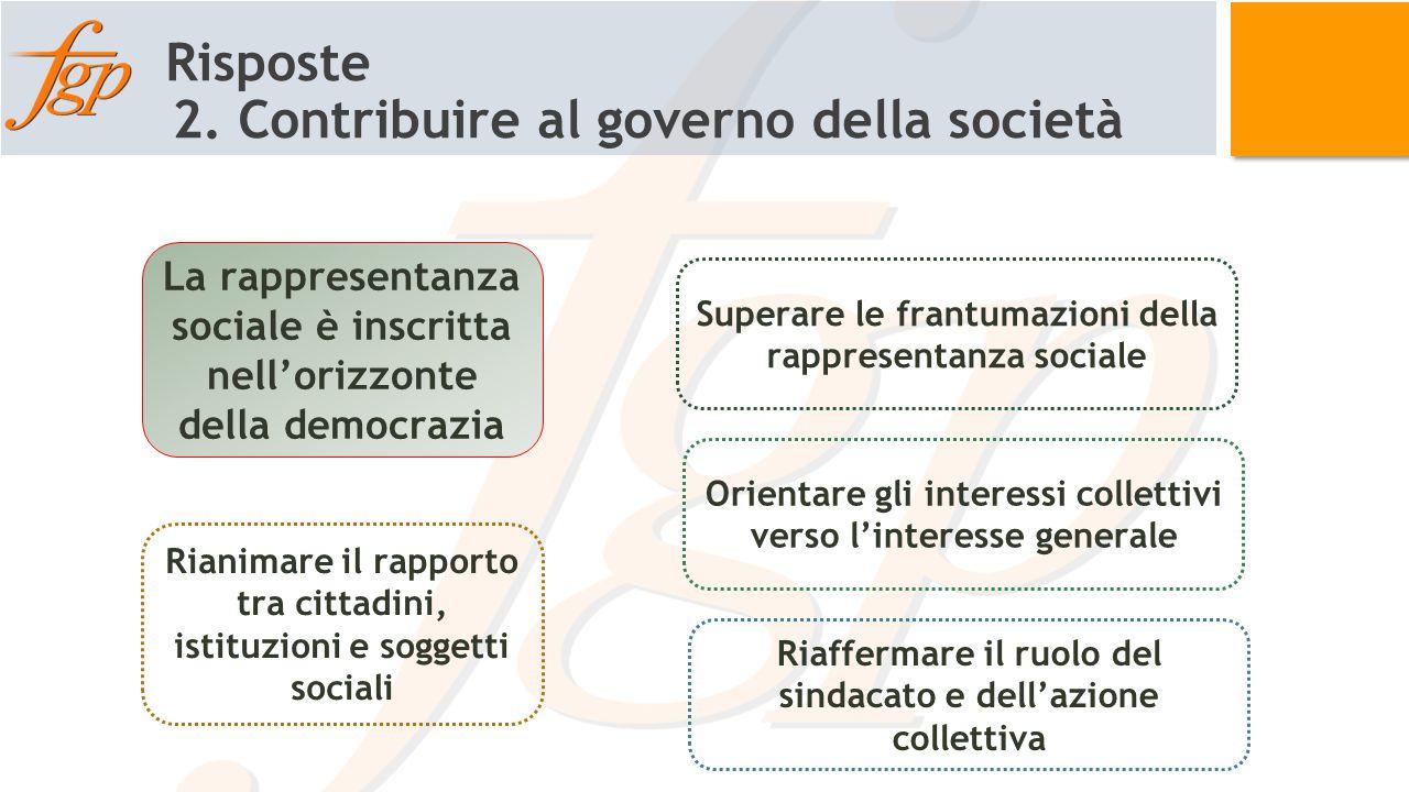 Risposte 2. Contribuire al governo della società La rappresentanza sociale è inscritta nell'orizzonte della democrazia Superare le frantumazioni della