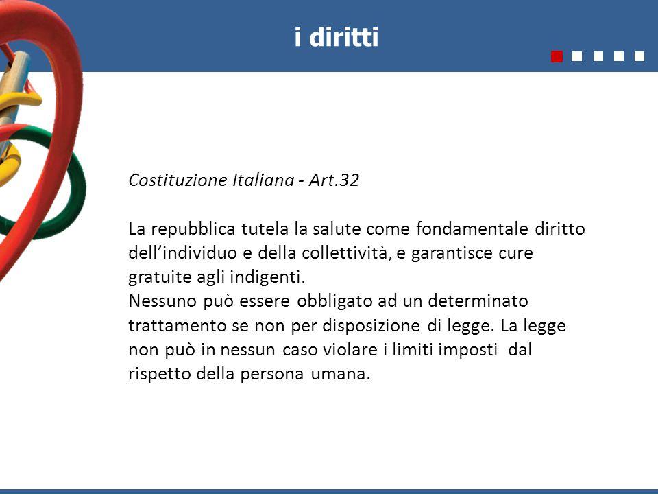 Costituzione Italiana - Art.32 La repubblica tutela la salute come fondamentale diritto dell'individuo e della collettività, e garantisce cure gratuite agli indigenti.