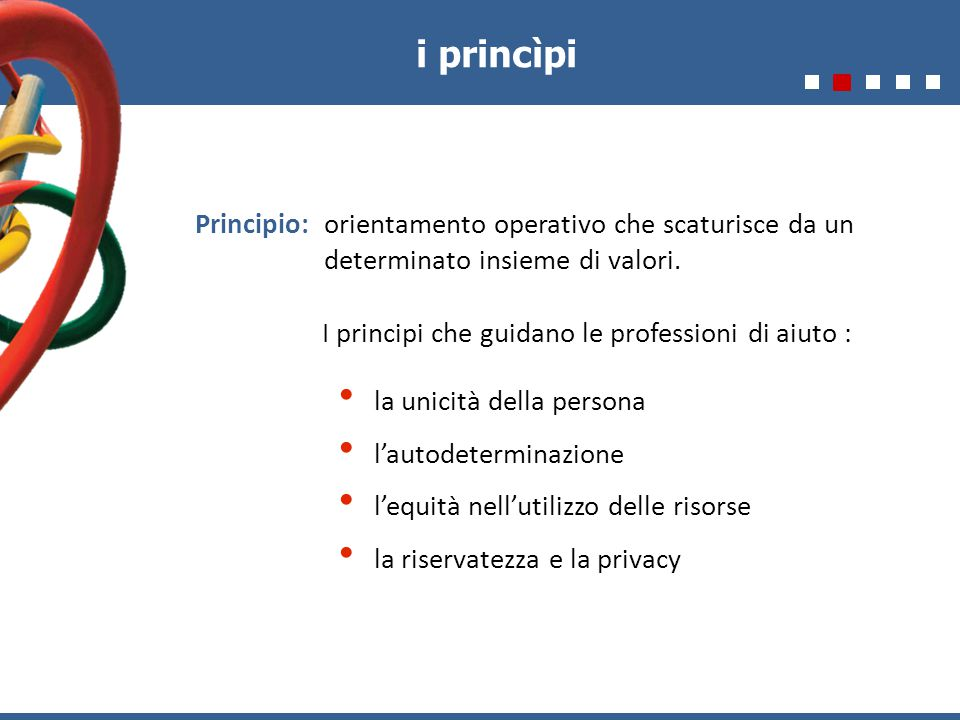 i princìpi Principio: orientamento operativo che scaturisce da un determinato insieme di valori. I principi che guidano le professioni di aiuto : la u