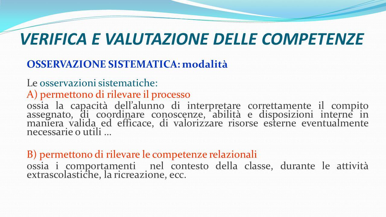 VERIFICA E VALUTAZIONE DELLE COMPETENZE OSSERVAZIONE SISTEMATICA: modalità Le osservazioni sistematiche: A) permettono di rilevare il processo ossia l
