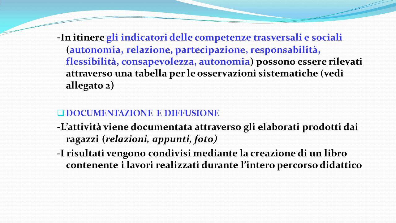 - In itinere gli indicatori delle competenze trasversali e sociali (autonomia, relazione, partecipazione, responsabilità, flessibilità, consapevolezza